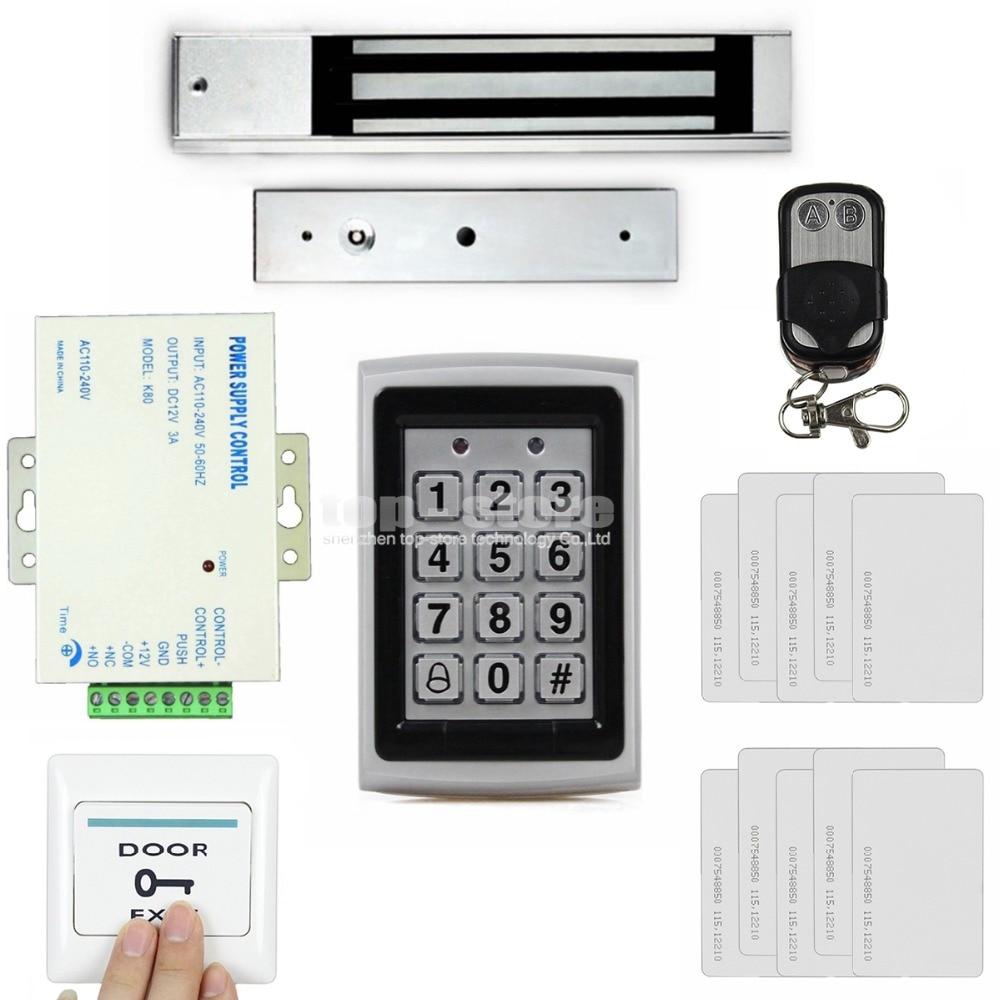 DIYSECUR Control remoto 125KHz RFID caja de Metal teclado puerta Control de acceso sistema de seguridad Kit + 280kg bloqueo magnético + botón de salida
