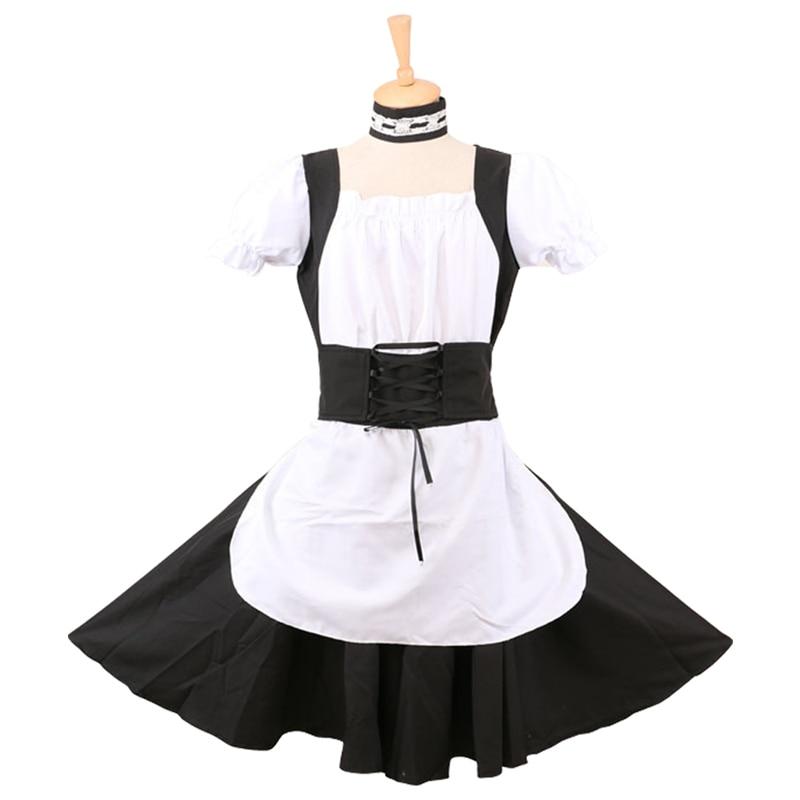 Nuevo vestido de mucama de algodón con cierre uniforme de mucama para Halloween hecho a medida