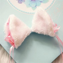 Маскарадный котенок Неко кошачьи ушки с маленьким колокольчиком заколка для волос японская Лолита почта милый головной убор милые кошачьи ...