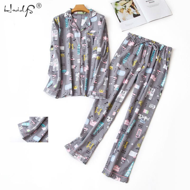 Пижамный комплект с длинным рукавом для женщин, осенне-зимний хлопковый пижамный комплект с героями мультфильмов, симпатичная Пижама с кот...