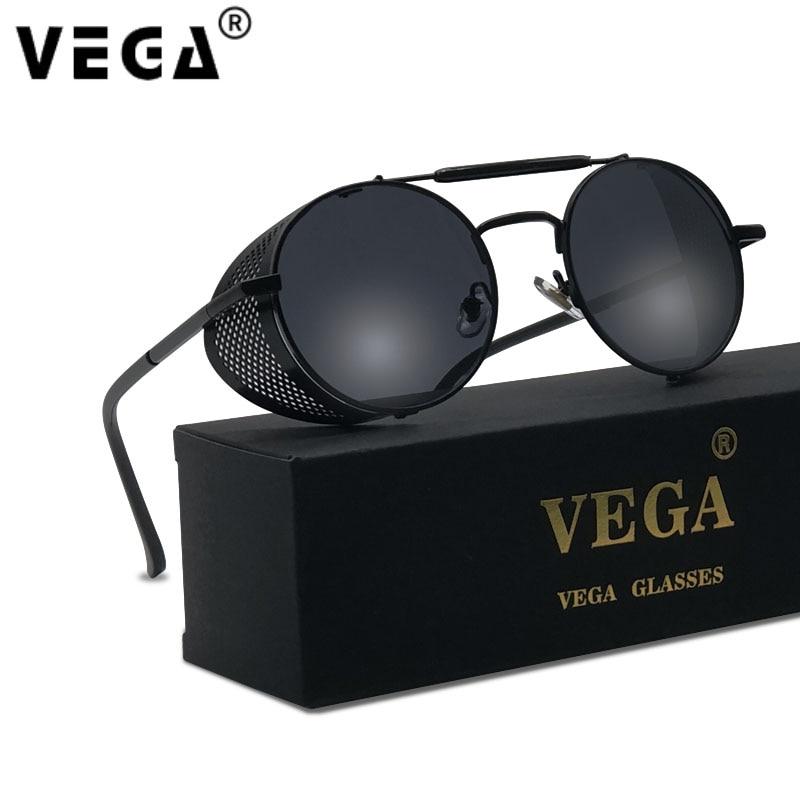 VEGA Round Steampunk Sunglasses Men/Women with Folding Side Shields Metal Vintage Steampunk/Steam punk Glasses/Sunglasses    340