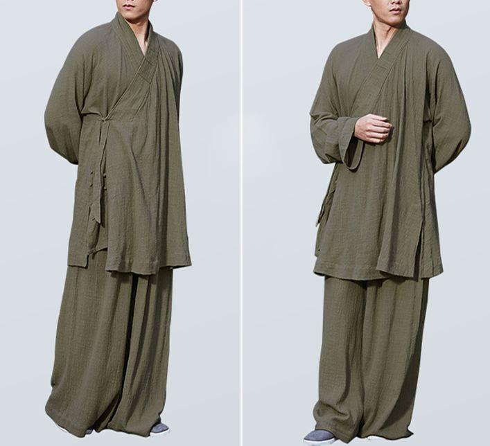 Unisex algodón Zen Budista Ropa de monje shaolin kung fu lohan/arhat trajes lay uniformes de meditación Amarillo/gris/verde/azul
