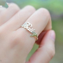Personnalisé police nom anneau bijoux en acier inoxydable à la main personnalisé anneau cadeaux de mariage or argent réglable Anillos Mujer