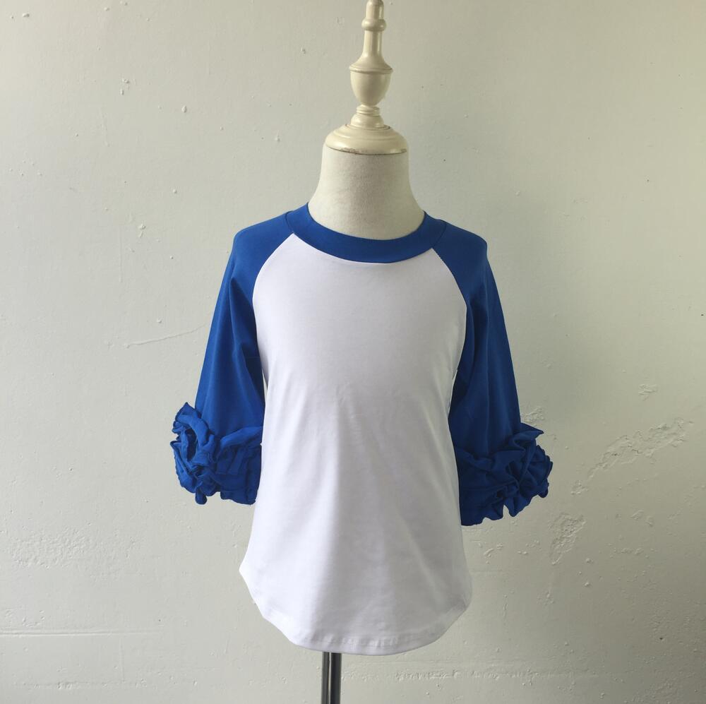 قمصان راجلان قطنية مكشكشة بالكامل للصيف, ملابس مزينة بالجليد بأكمام مكشكشة بترقيع بالجملة