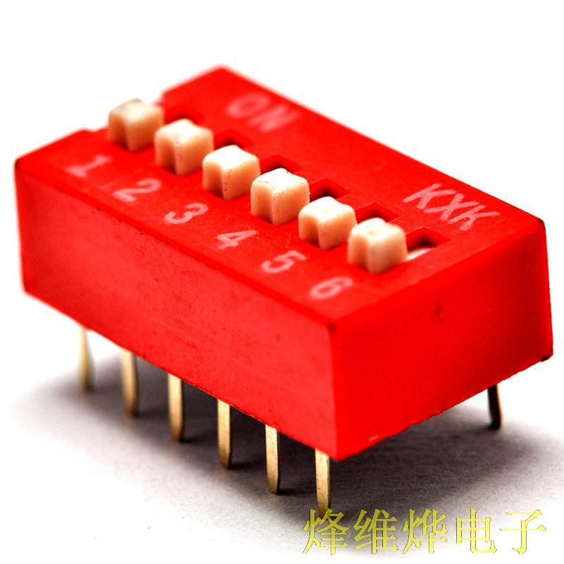 Interruptor DIP 6P interruptor DIP plano seis pies de distancia de 2,54 MM interruptor de palanca rojo (40)