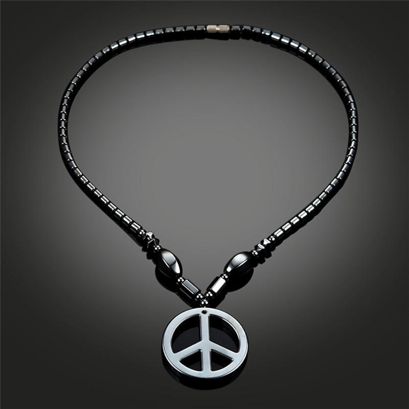 Schwarz Leder Antikriegs Friedens Zeichen Symbol Anhänger Halsketten Für Frauen 2018 Neue Mode Schmuck Charme Männer Jungen Lange Halskette R5AX