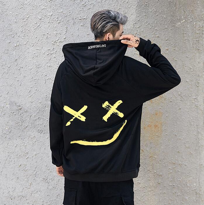 Men Women Hoodies Sweatshirts Smile Print Headwear Hoodie Hip Hop Streetwear Clothing Us size S-XXL