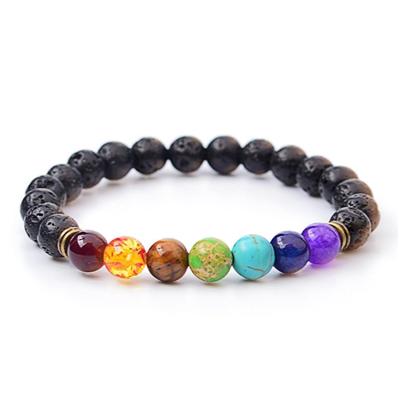 Многоцветный тигровый глаз камень Черная смола Лава бусы чакра браслеты bijoux веревка цепь для женщин и мужчин ювелирные изделия