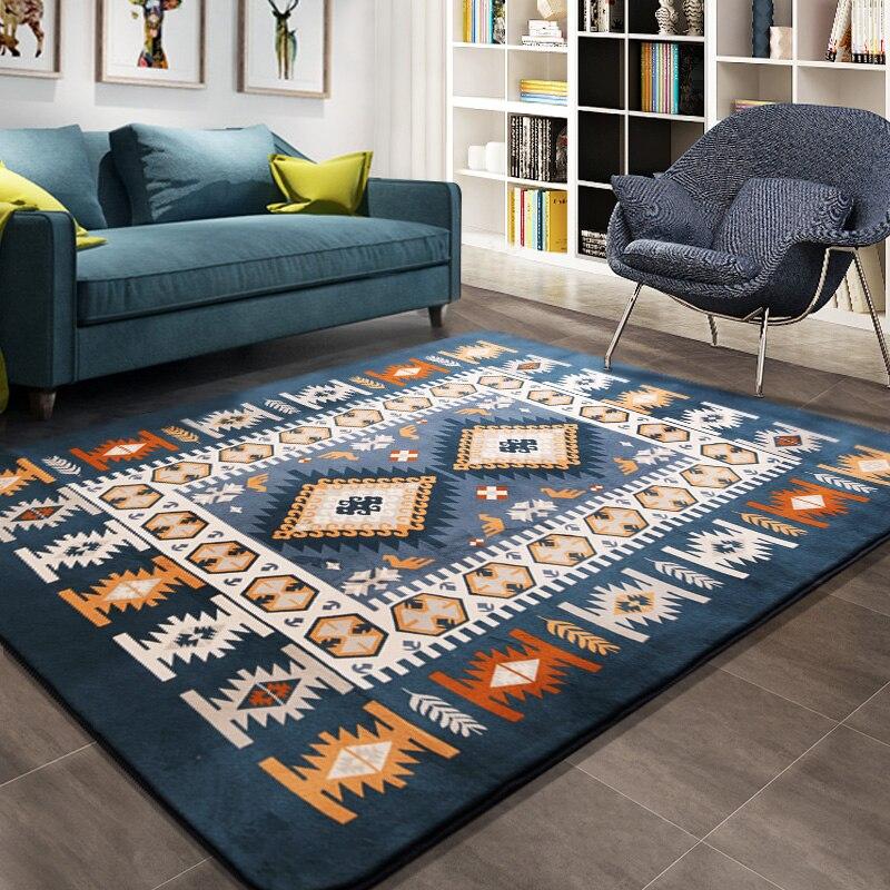 Alfombra mediterránea Honlaker, alfombras grandes para sala de estar, alfombras azules para dormitorio, alfombrilla Rectangular para mesa de té