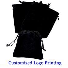 7*9 Cm Black Velvet Bags Drawable 50 Stuks Sieraden Gift Verpakking Opslag Zakjes Custom Logo Afdrukken Kosten Extra