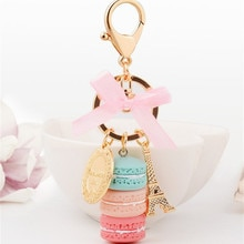 Créatif Macarons gâteau porte-clés LADUREE Effiel tour ruban porte-clés anneau femmes sac à main sac breloque mode bibelot en gros