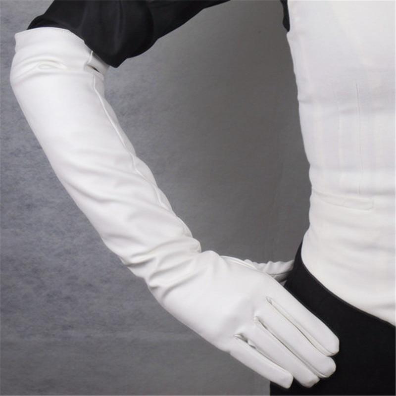 Длинные кожаные перчатки 50 см, женские перчатки из искусственной кожи, белые, с шелковой подкладкой, теплые тонкие женские перчатки, бесплат...