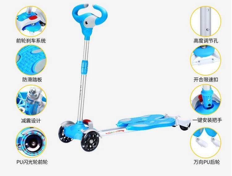 Children Bicicleta Scooter Toys Flash 4 Wheels Outdoor Kid Bike Car Slide Ride On Toy Led Light Flash Adjustable Height 2020