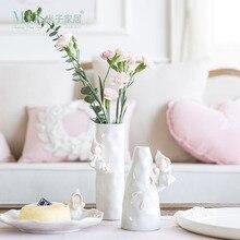 Zim 1 Pièce Vase En Céramique Vase pour Fleurs Décoration de La Maison Accessoires Rose Couleur Vase De Mariage Décoration 2 Tailles Disponibles