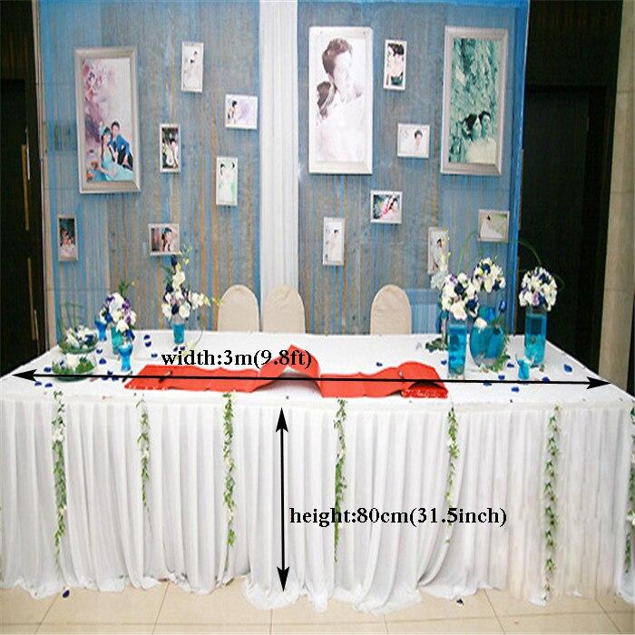 مفرش طاولة من الحرير الأبيض الخالص ، 9.8 قدم (واط) × 31.5 بوصة (H) ، تنورة طاولة لحفلات الزفاف والمآدب مع غطاء طاولة غنيمة