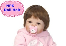 NPK 55-57 cm Silicone Reborn garçon stické perruque de cheveux 22 pouces Silicone réaliste Reborn bébé poupées cheveux perruque bricolage accessoire de poupée