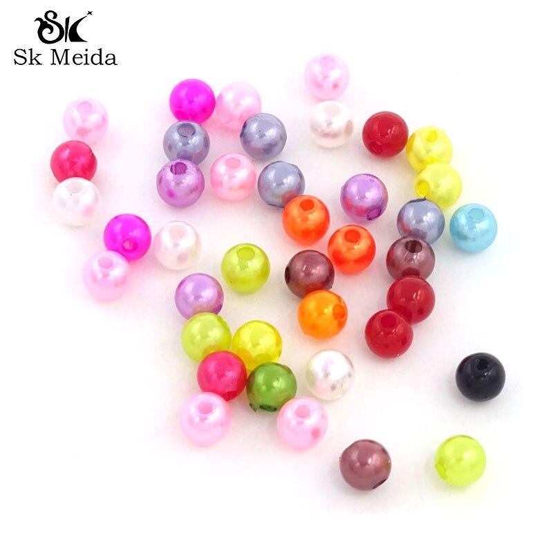 Perlas de imitación de colores mezclados Perlas Para bisutería 6 mm Abalorios...