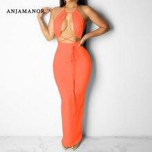 ANJAMANOR néon moulante chaude Sexy robe femmes Sexy dos nu sans manches licou longues Maxi robes de soirée Clubwear D36-AA97
