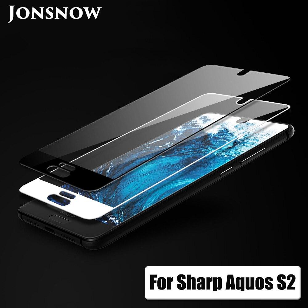 Vidrio de cobertura total JONSNOW para Sharp Aquos S2 vidrio templado para Aquos C10 9H película protectora de pantalla a prueba de explosiones