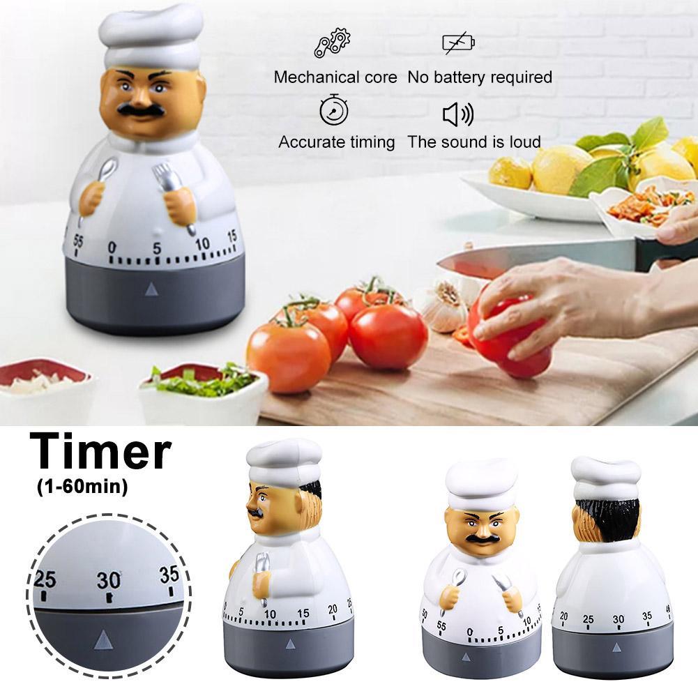 Utensílio de cozinha Chef Bonito Design Cozinha Despertador Mecânico Eletrônico Temporizador de Contagem Regressiva Cronômetro Relógio Despertador Mini Dropshiping