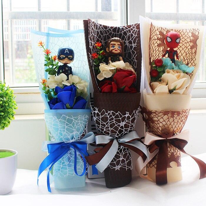 Superhéroe caliente los Vengadores juego de figuras de acción juguetes Spiderman Capitán América Hulk Iron Man peluche juguete ramo regalo