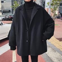 2020 hiver hommes mode ample décontracté Parkas Trench noir/kaki laine mélanges cachemire longs manteaux vêtements rembourrés de coton M-2XL