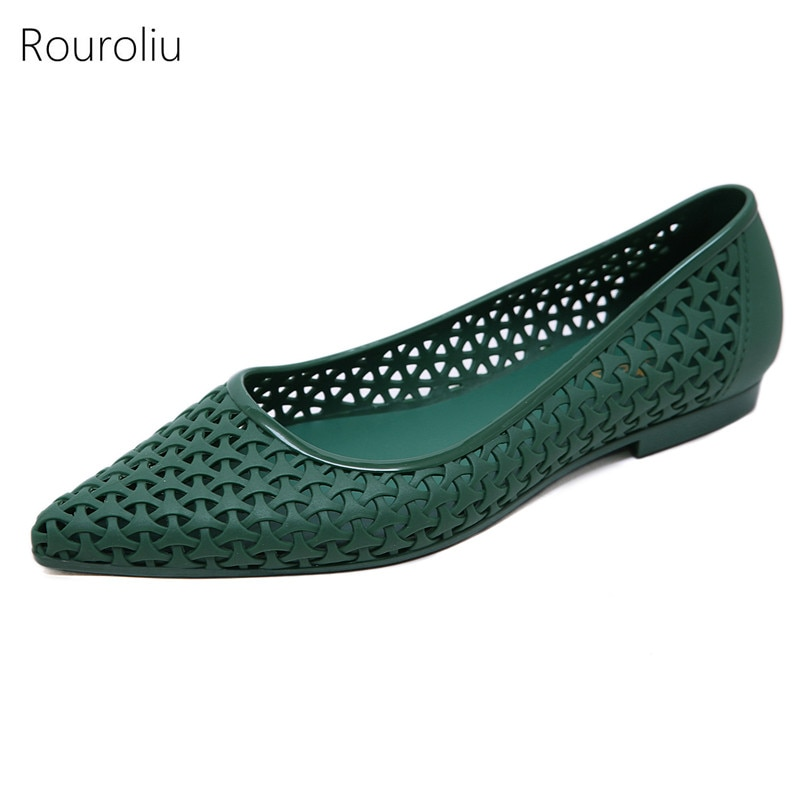 Rouroliu Women Summer Hollow Out Jelly Shoes Non-Slip Pointed Toe Beach Sandals Woman Shallow Casual Flats FR95