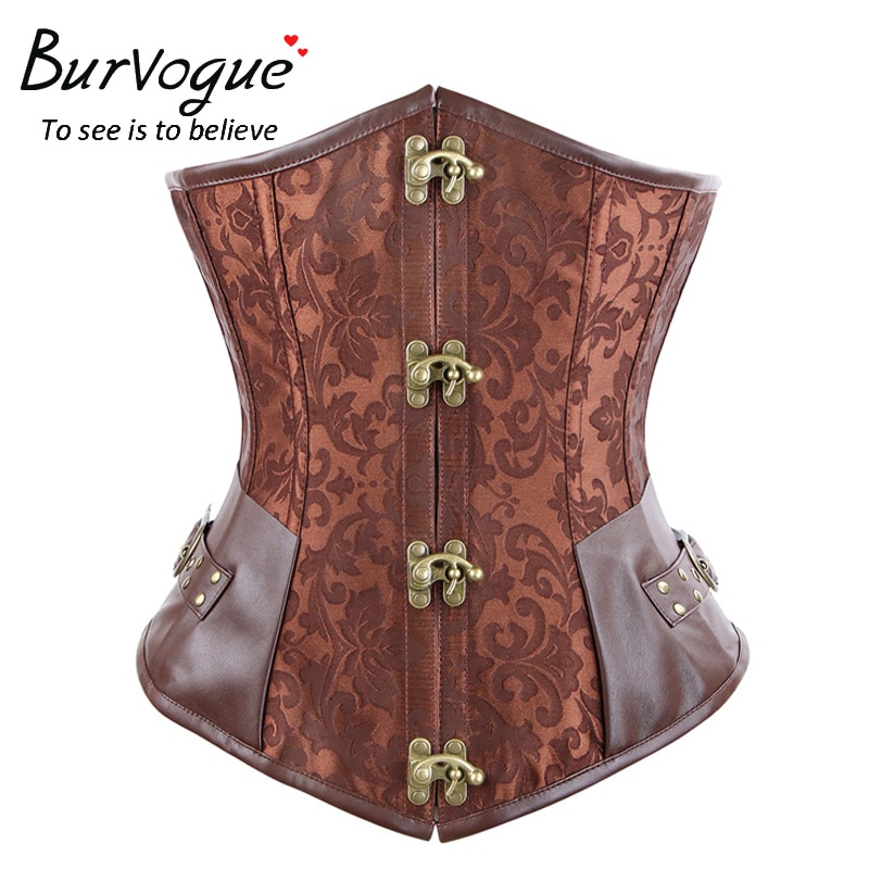 Burvogue Steampunk Corset marrón negro Acero hueso Underbust corsés Dobby Corselets Sexy cintura ajustada Bustiers cintura Cincher corset