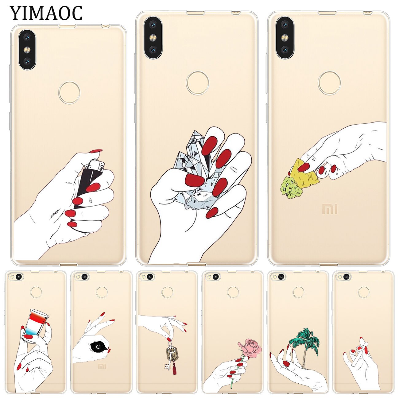 YIMAOC girl hand Starry sky flower Soft Case for Xiaomi Mi 9 9T CC9 CC9E A3 Pro 8 SE A2 Lite A1 MiX