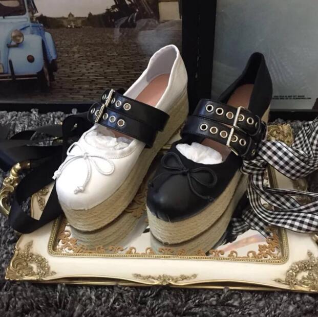 Carpaton-حذاء باليه نسائي برباط علوي ، حذاء مسطح عصري مع منصة دائرية من الأمام ، حبل مضفر ، غير رسمي ، أسود