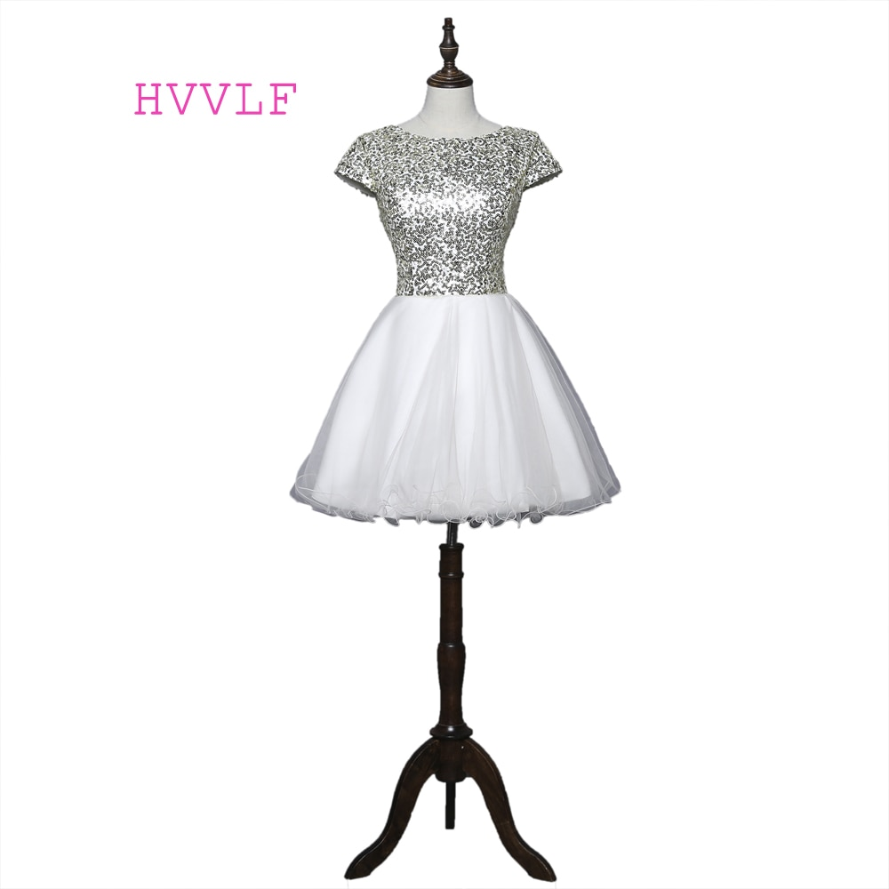Beige 2019 Homecoming Dresses A-line Cap Sleeves Short Mini Organza Sequins Sparkle Elegant Cocktail Dresses