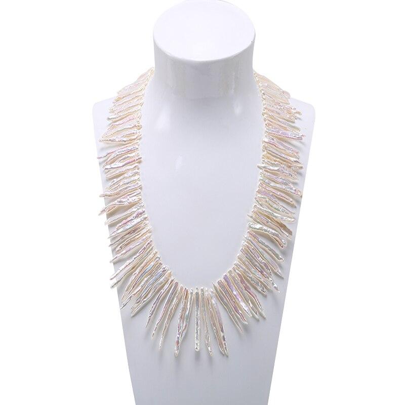"JYX 4x35mm blanco barroco agua dulce cultivada Biwa perla collar fiesta joyería regalo AAA 17-18"""