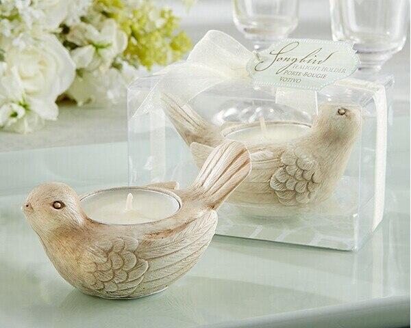 """Favores de la boda """"Songbird"""", Sostenedor de vela de luz de té pájaro de amor candelita titular 100 unids/lote envío gratis (viene sin el vela"""