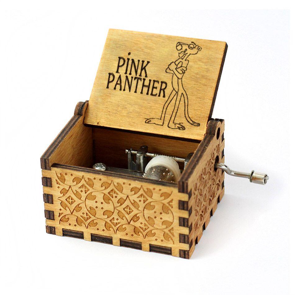Античный резной деревянный ручной кривошипный розовый пантера музыкальная шкатулка Рождественский подарок на день Рождения Вечеринка новогодний детский