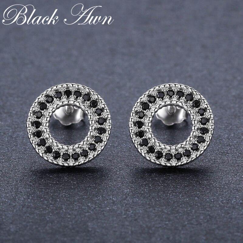 Pendientes clásicos de plata de ley 1,8 de 925g con pasador de espinela negra Natural para mujer, joyería fina T199