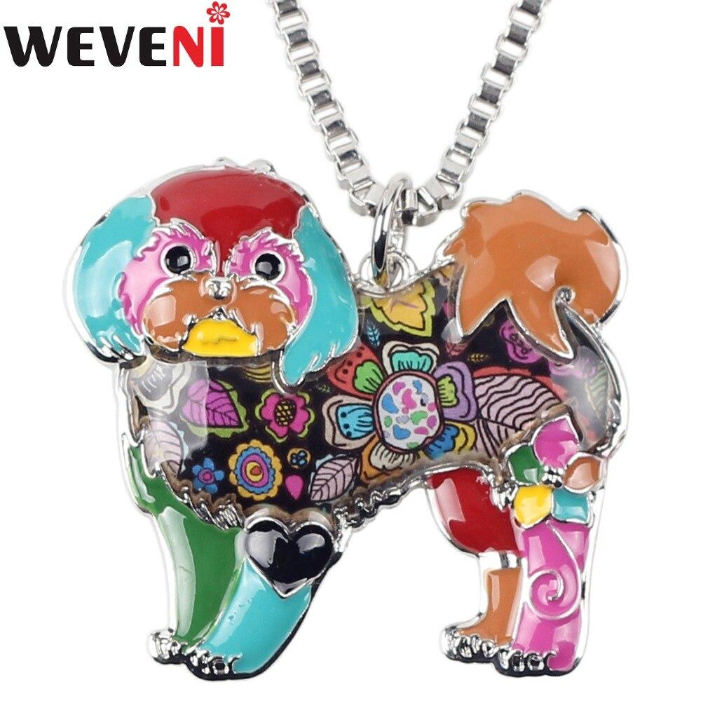 Collar WEVENI Statement de aleación esmaltada de Yorkshire Terrier Shih Tzu, cadena colgante Collar con, joyería animal de moda para mujer y Niña