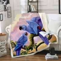 plstar cosmos colorful parrot brid blanket 3d print sherpa blanket on bed kids girl flower home textiles dreamlike style 5