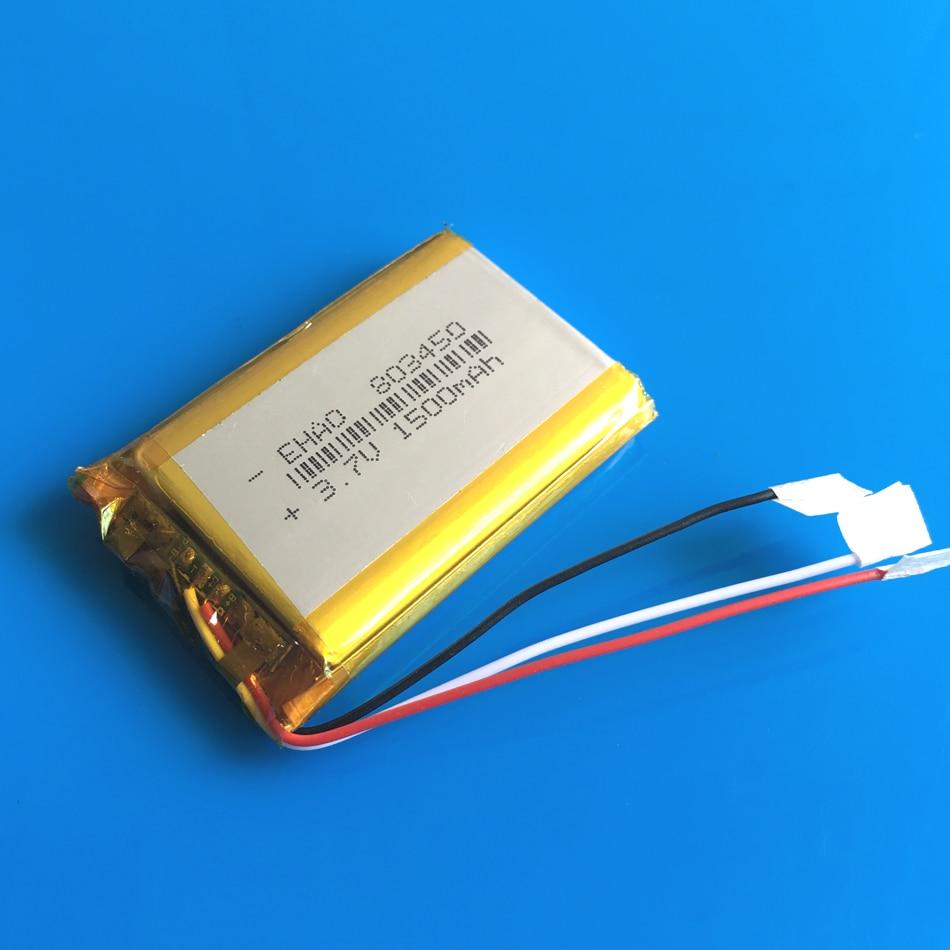 803450 3.7 v 1500 mah lipo polímero lítio li ion bateria recarregável 3 fios para gps gravador de dvd fone de ouvido câmera e-book