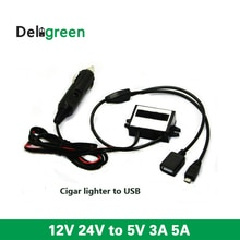 12V24V step down 5V cigar lighter converter to double dual USB3A 5A on board power supply module non