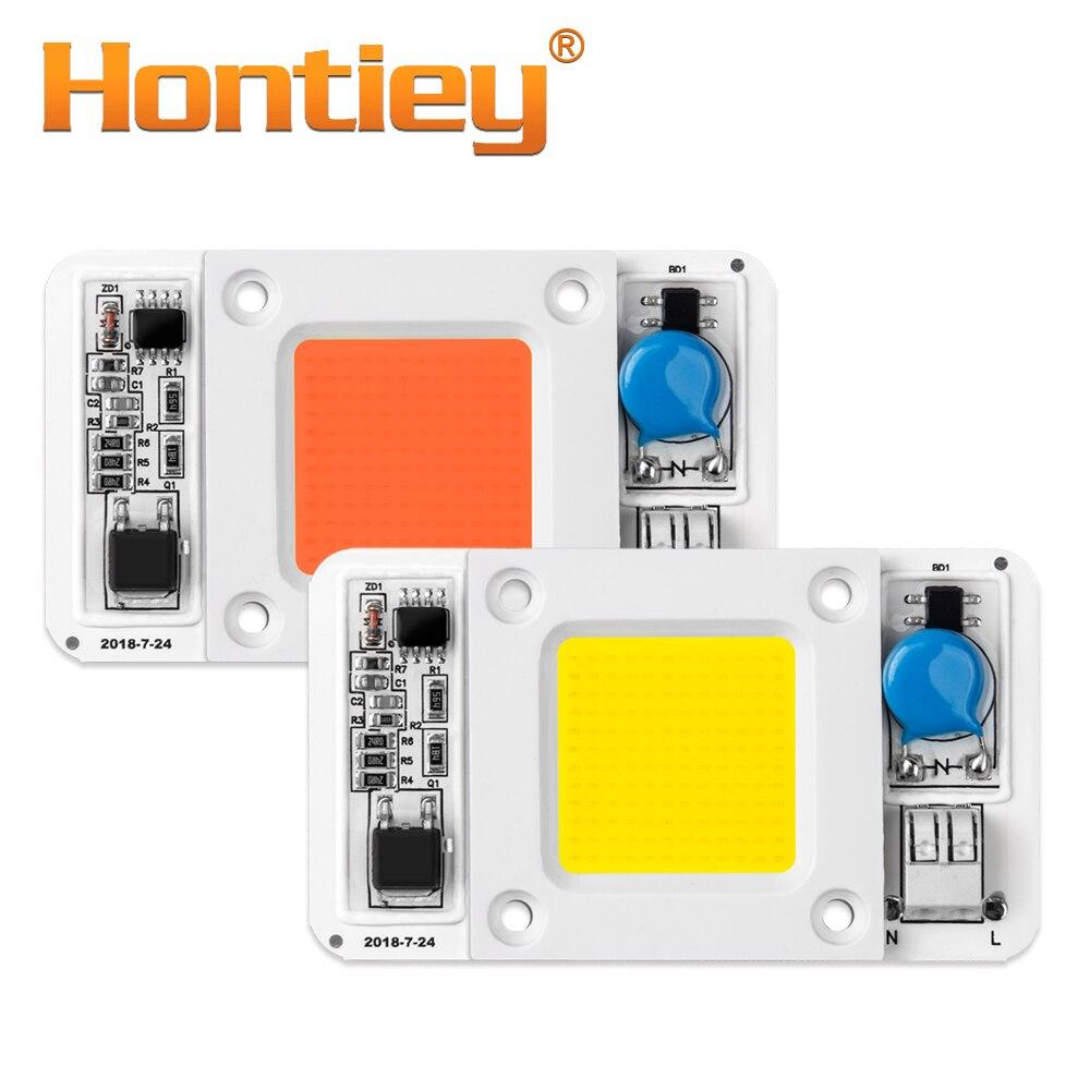 Hontiey LED 50W COB bombilla inteligente IC AC 220V conductor blanco caliente fresco espectro completo reflector Flip lámpara de chip tubo DIY