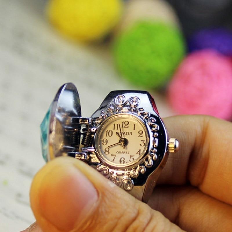 Anillo para mujeres de moda reloj elíptico flor estéreo señoras relojes concha de almeja anillos ajustables relojes de cuarzo LXH