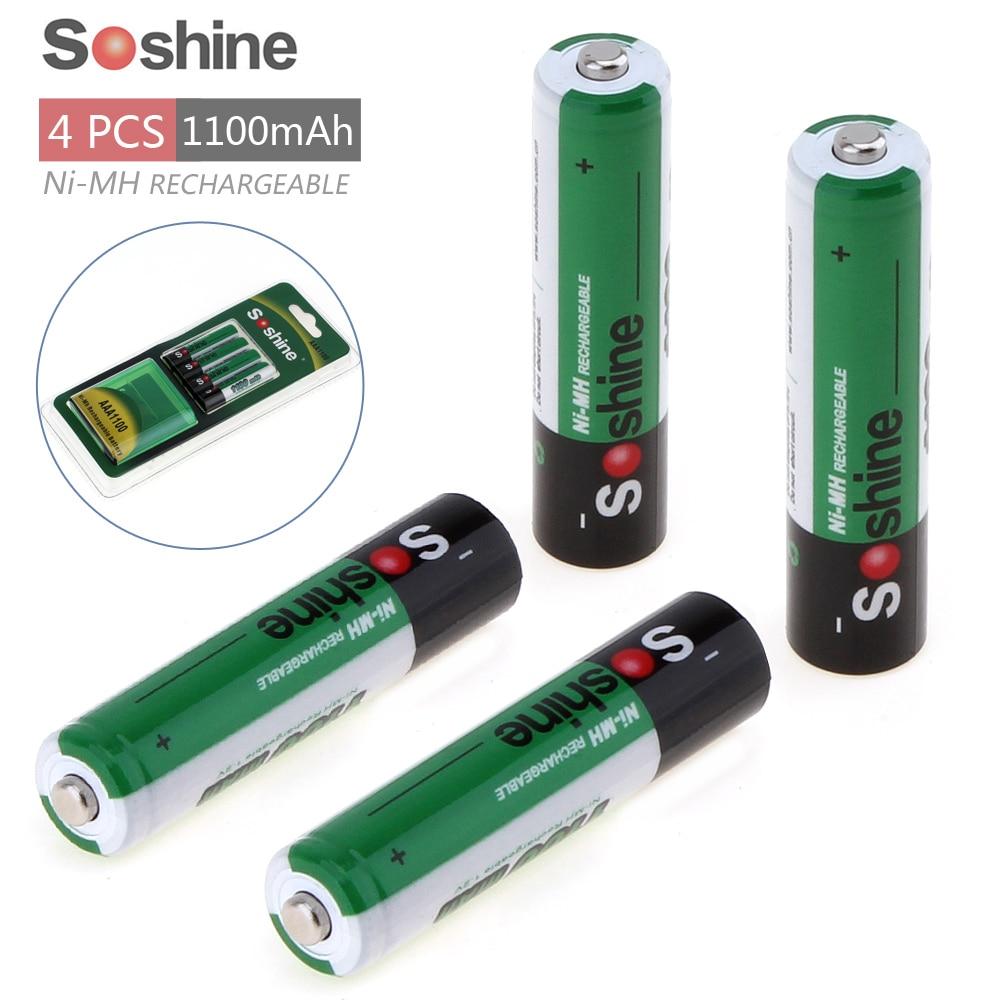 4 unids/lote 1100mAh 1,2 V AAA batería Ni-MH NiMH batería recargable para linterna frontal + caja de almacenamiento soporte para batería