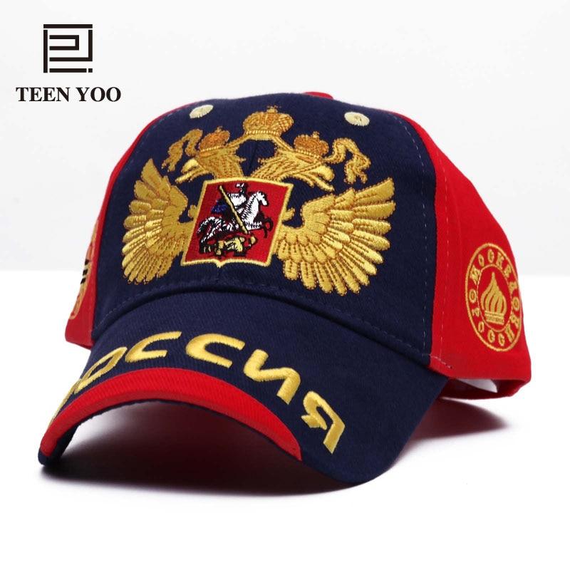 Gorra de béisbol bordada de moda Rusia emblema nacional dorado de doble cabeza águila algodón al aire libre gorra para el sol deportiva Snapback