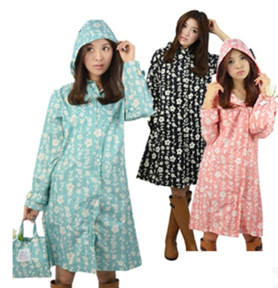 Japão Moda Das Mulheres Fino Portátil Passeio Longo Trincheira burbe rry _ Meninas Roupas Floral À Prova D Água Ao Ar Livre Impermeáveis Capa De Chuva