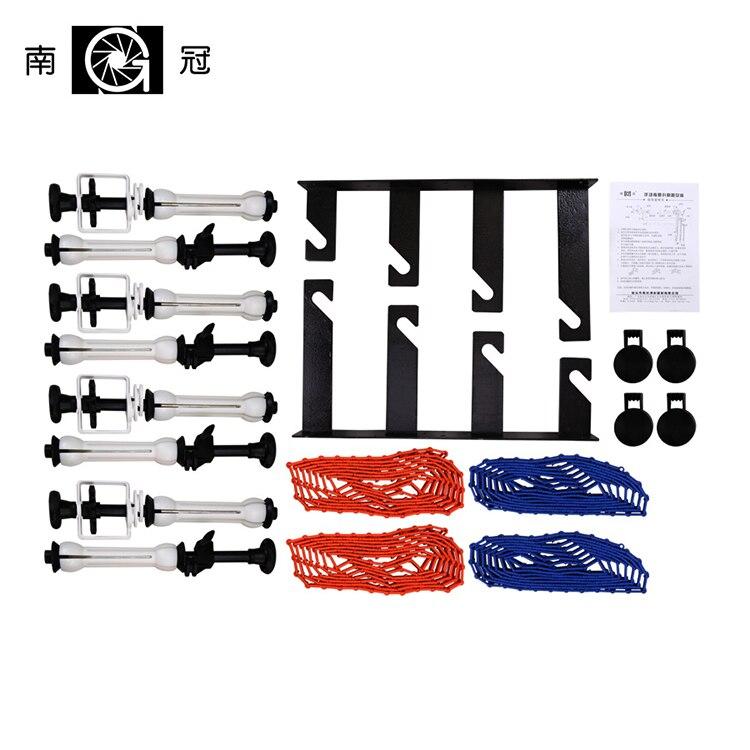 Fotografía 4 rodillos montaje en pared Manual Sistema de soporte de fondo: cuatro ganchos plegables + barras de expansión + cadenas + abrazadera NG-4W CD50Y