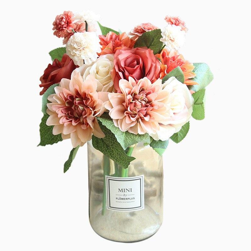 Ramo Rosa Dalia flores artificiales de seda ramo pequeño flores hermosas fiesta en casa decoración de enlace boda flores primavera