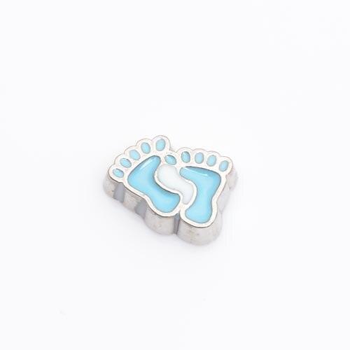 Huella de bebé azul, medallones de encanto flotante, FC0133, 10 unids/lote