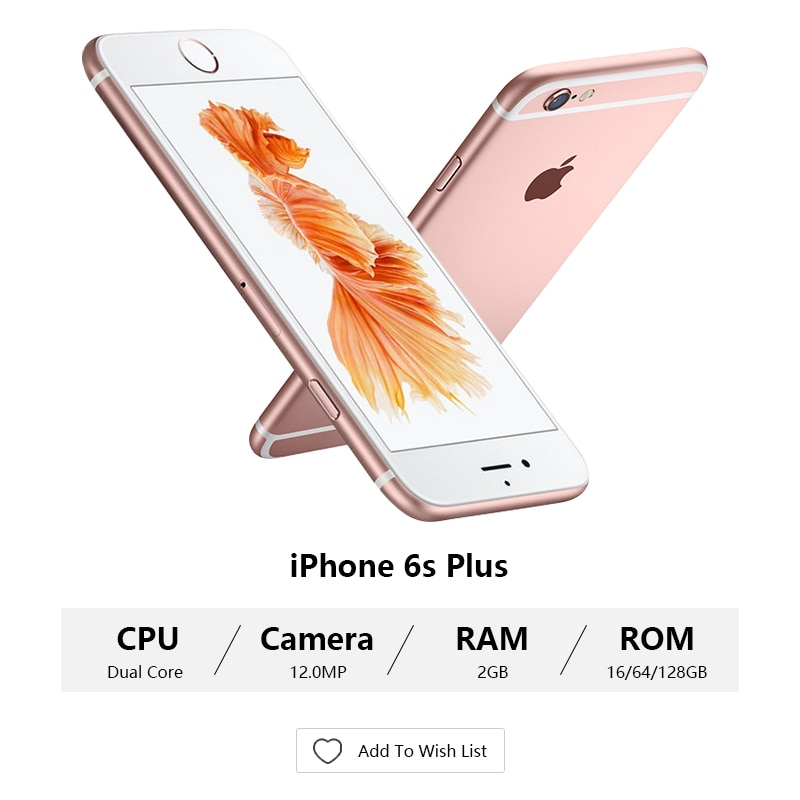 "Desbloqueado Apple iPhone 6S / 6s Plus Dual Core 2GB RAM/16/64/ROM 4,7 128GB ""y 5,5"" 12.0MP Camera 4K Video iOS 9 LTE usado teléfonos celulares"