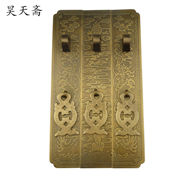 [Haotian]-مقبض خزانة نحاسي عتيق ، خزانة كتب صينية ، مقابض خزانة ، نماذج كبيرة Yunlong