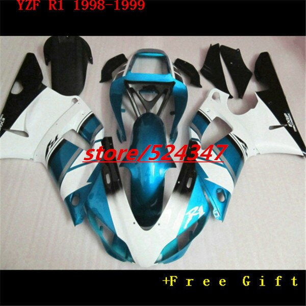 Nn-Custom  motorcycle fairings sets for 1998 1999  YZF R1 98 99 YZFR1 YZF 1000 light blue white factory fairing kits for Yamaha